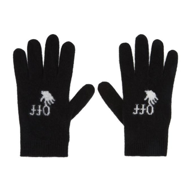 Off-White Black Wool Logo Gloves