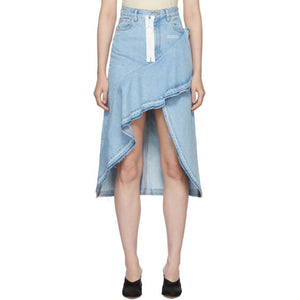 Off-White Blue Denim Ruffles Skirt-BLACKSKINNY.COM