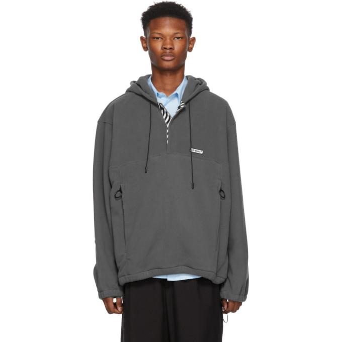 Off-White Grey Polar Fleece Hooded Anorak Jacket-BlackSkinny