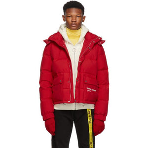 Off-White Red Quote Down Jacket-BlackSkinny