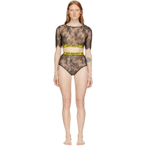 Off-White SSENSE Exclusive Black and Yellow Lace Two-Piece Bodysuit