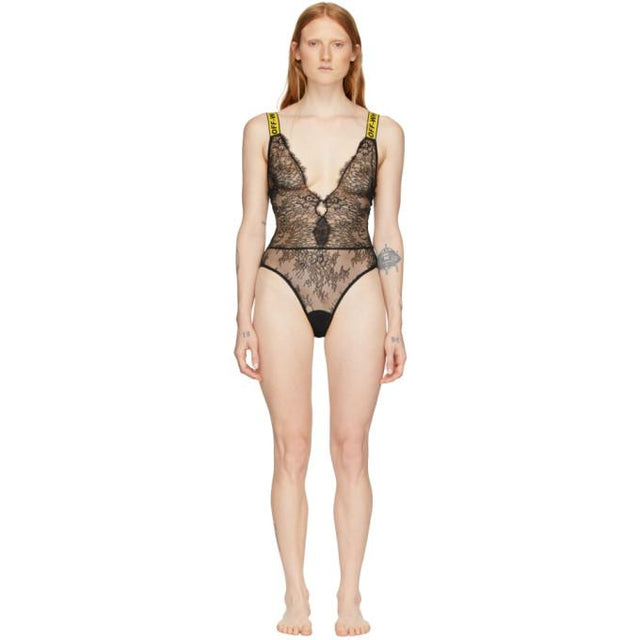 Off-White SSENSE Exclusive Black Lace One-Piece Bodysuit