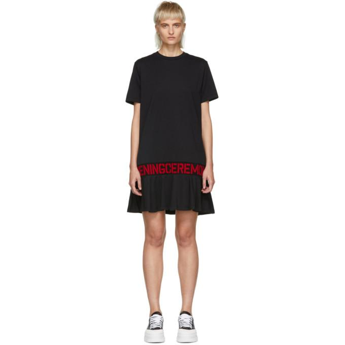 Opening Ceremony Black Elastic Logo T-Shirt Dress-BLACKSKINNY.COM