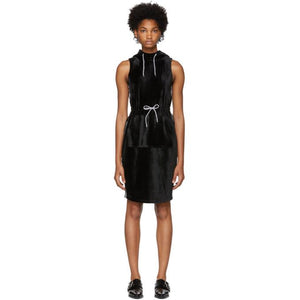 Opening Ceremony Black Velour Hoodie Dress-BLACKSKINNY.COM