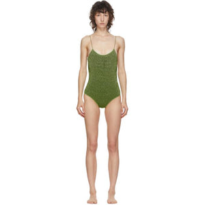 Oseree Green Lurex Lumiere One-Piece Swimsuit