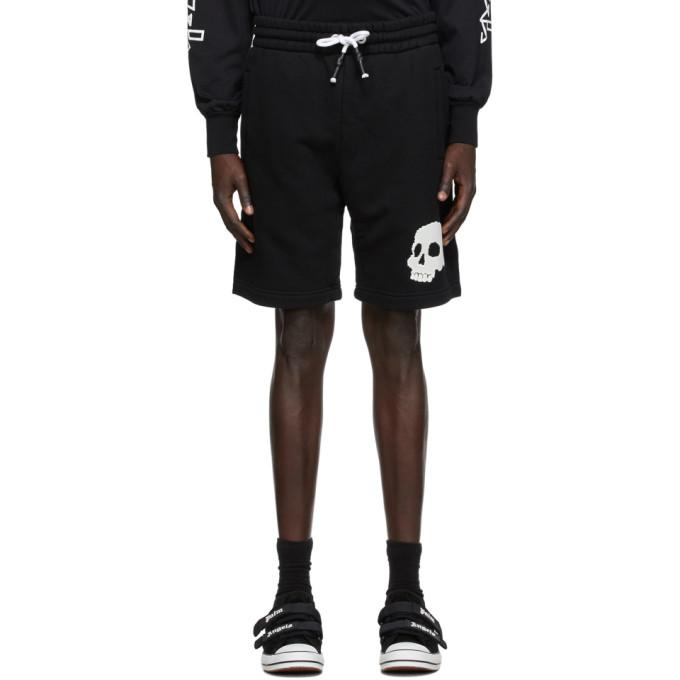 Palm Angels Black French Terry Skull Shorts