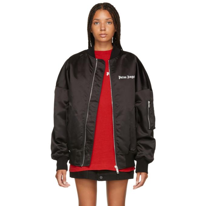 Palm Angels Black Logo Oversized Bomber Jacket-BlackSkinny
