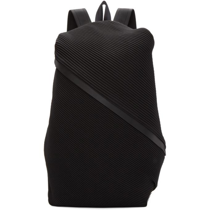 Pleats Please Issey Miyake Black June Bias Pleats Backpack-Bags-BLACKSKINNY.COM