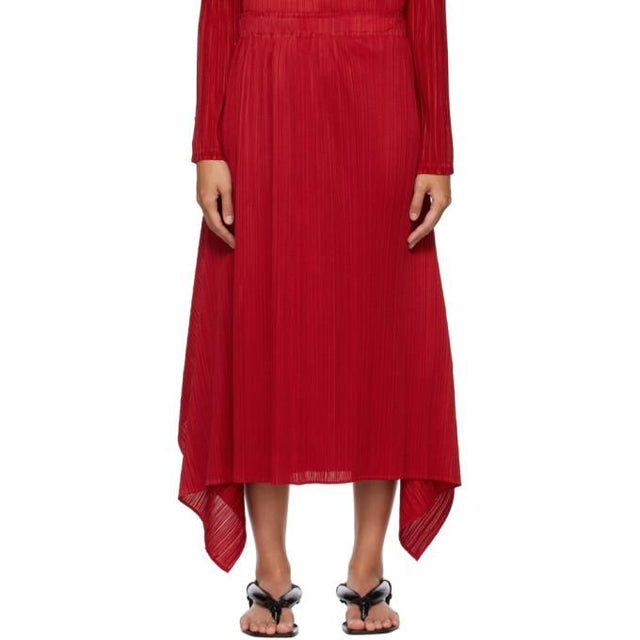 Pleats Please Issey Miyake Red Echo Long Skirt