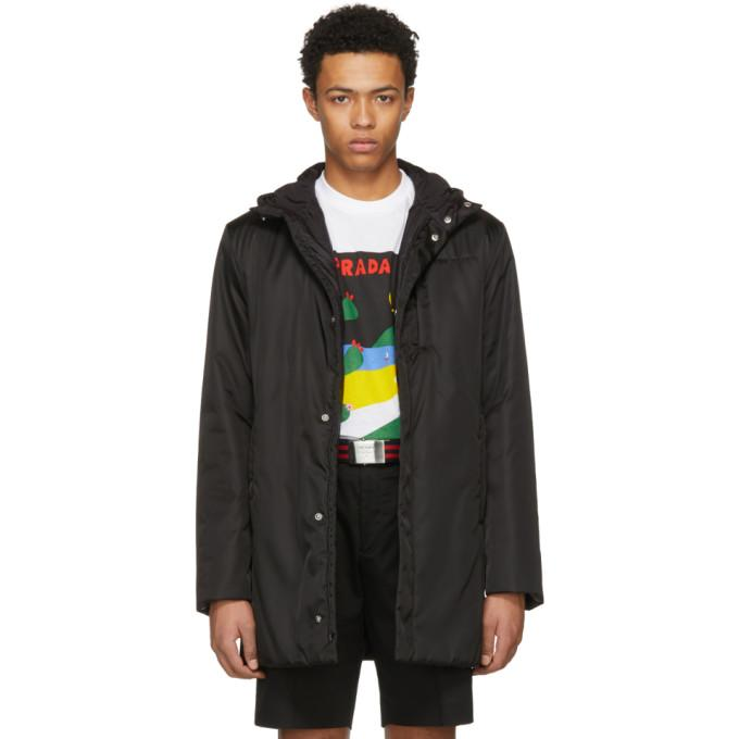 Prada Black Hooded Side Zip Coat-BlackSkinny