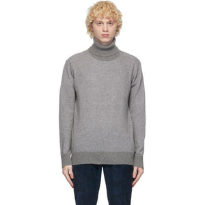 PRESIDENTs Grey Recycled Cashmere Turtleneck