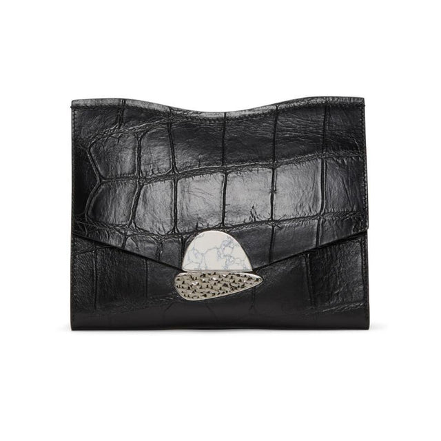 Proenza Schouler Black Medium Curl Clutch-Bags-BLACKSKINNY.COM