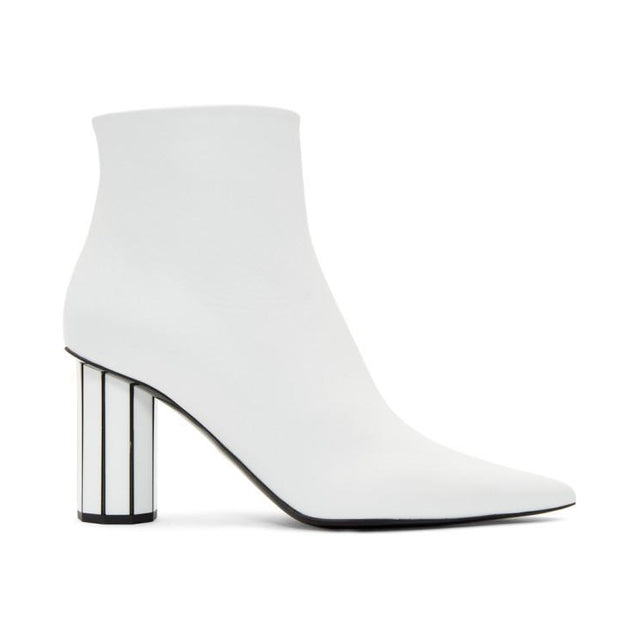Proenza Schouler White Pointy Faceted Heeled Boots-BLACKSKINNY.COM