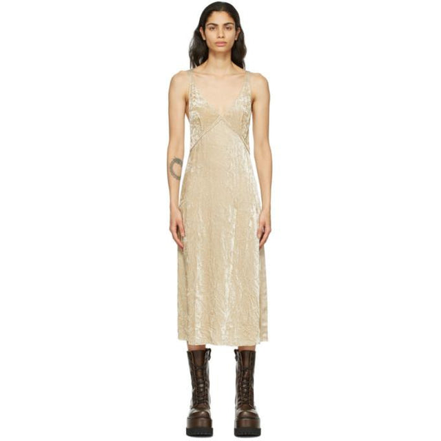 R13 Beige Velvet Side Stripe Slip Dress