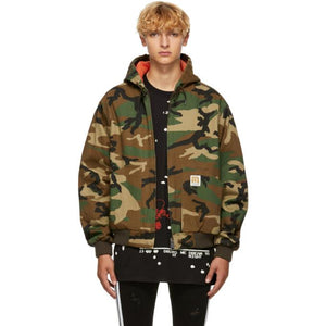 R13 Green Camouflage Duck Jacket-BlackSkinny