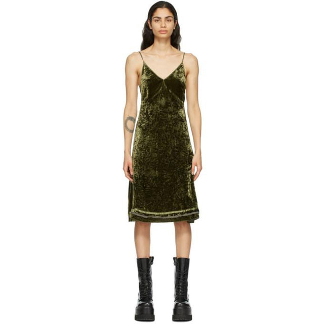 R13 Green Velvet Back Tie Slip Dress