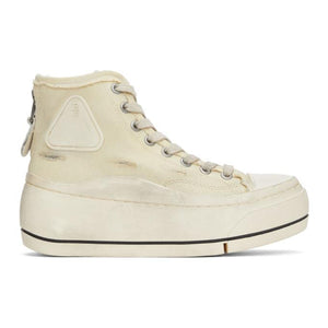 R13 Off-White Distressed High-Top Sneakers