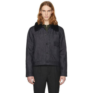 Rag & Bone Indigo Denim Sherpa Bartack Jacket-BlackSkinny