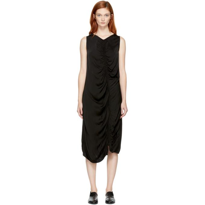 Raquel Allegra Black Liquid Satin Dress-BLACKSKINNY.COM