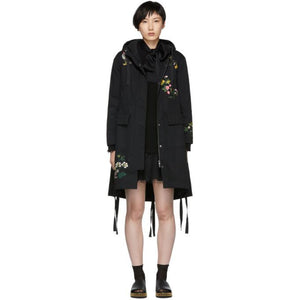 RED Valentino Black Floral Anorak Coat-Jackets & Coats-BLACKSKINNY.COM