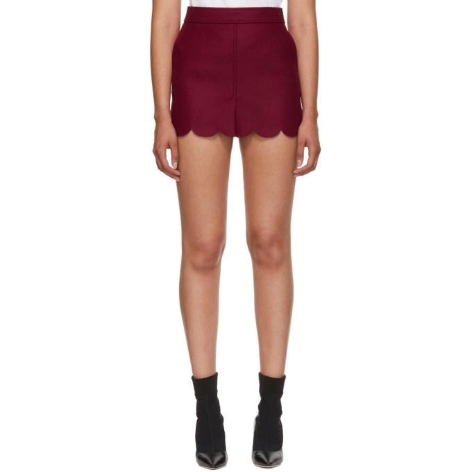 RED Valentino Red Scalloped Miniskirt-BLACKSKINNY.COM