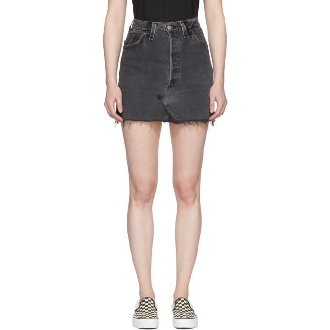 Re/Done Black Levi's Edition High-Rise Denim Miniskirt-BLACKSKINNY.COM