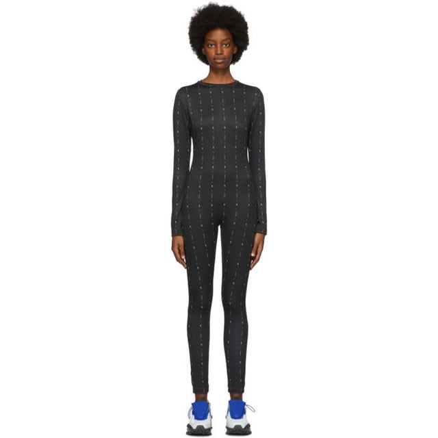 Reebok by Pyer Moss Black Allover Logo Jumpsuit