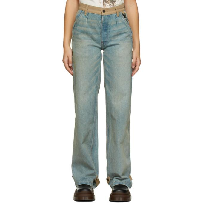 Reese Cooper SSENSE Exclusive Blue and Tan Balloon Jeans