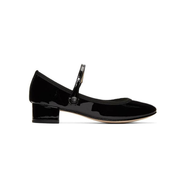 Repetto Black Patent Rose Mary Jane Heels-BLACKSKINNY.COM