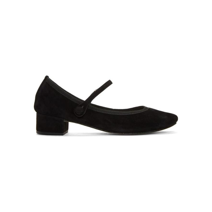 Repetto Black Suede Rose Mary Jane Heels-BLACKSKINNY.COM