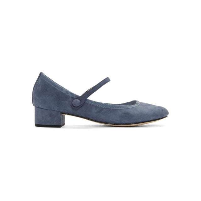 Repetto Blue Suede Rose Mary Jane Heels-BLACKSKINNY.COM