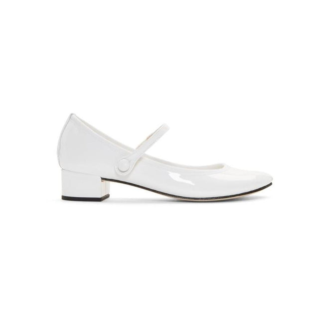 Repetto White Patent Rose Mary Jane Heels-BLACKSKINNY.COM