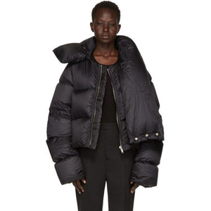 Rick Owens Black Down Funnel Neck Coat-BlackSkinny