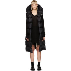 Rick Owens Black Down Hooded Vest-BlackSkinny