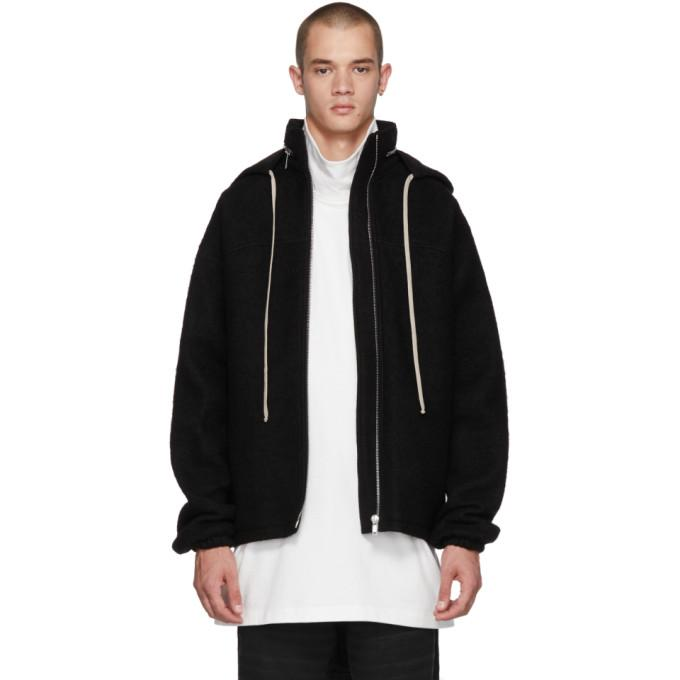 Rick Owens Black Wool Windbreaker Jacket-BlackSkinny