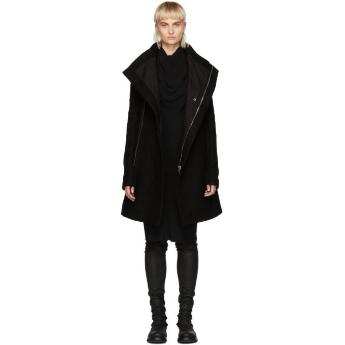 Rick Owens Black Wool Zipped Eileen Coat-BlackSkinny