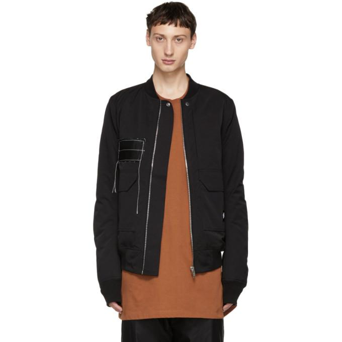 Rick Owens Drkshdw Black Patch Cop Flight Bomber-BlackSkinny