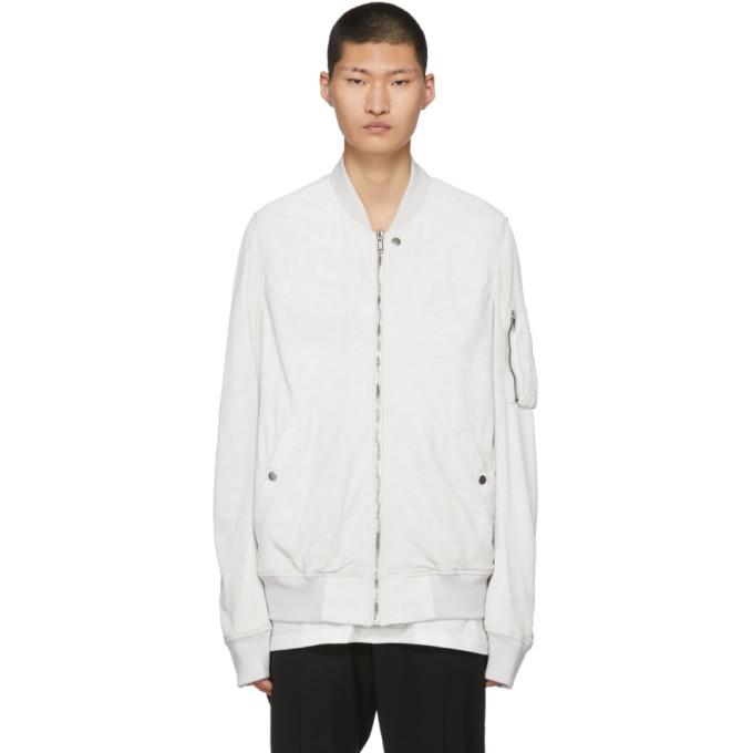 Rick Owens White Flight Bomber Jacket-BlackSkinny