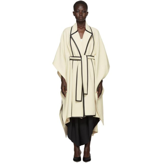 Rosetta Getty Beige Scarf Panel Cape Coat-Jackets & Coats-BLACKSKINNY.COM