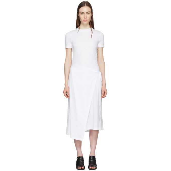 Rosetta Getty White Apron Wrap T-Shirt Dress-BLACKSKINNY.COM