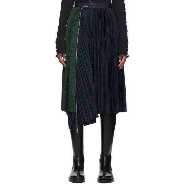 Sacai Black and Navy Pleated Skirt