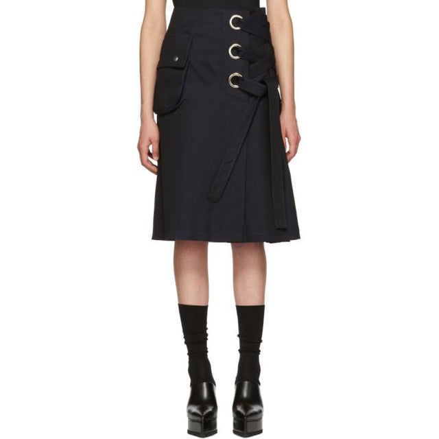 Sacai Black Cotton Twill Skirt-BLACKSKINNY.COM