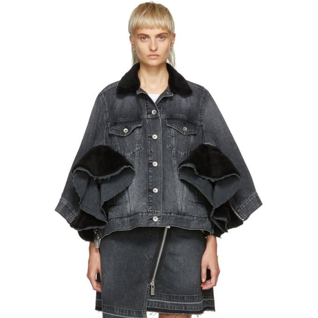 Sacai Black Denim Zip Jacket-BlackSkinny