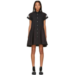 Sacai Black Short Sleeve Shirt Dress-BLACKSKINNY.COM