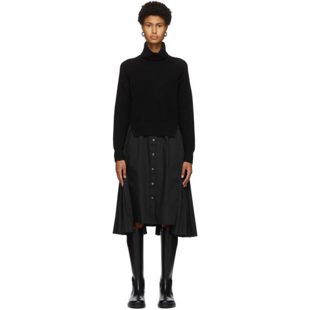 Sacai Black Wool and Poplin Shirt Dress