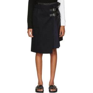 Sacai Navy Wool Combo Wrap Skirt-BLACKSKINNY.COM
