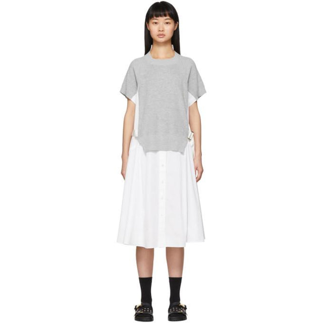 Sacai White and Grey Knit Panel Dress