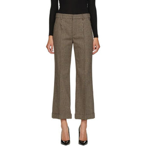 Saint Laurent Black and Brown Prince Of Wales Trousers