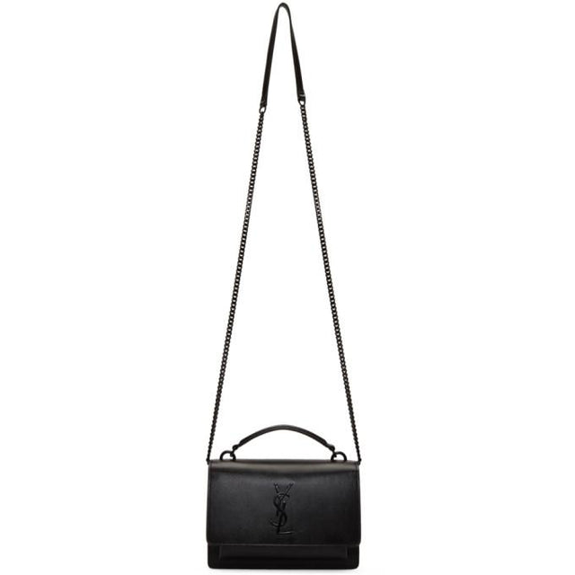 Saint Laurent Black Buffed Calfskin Sunset Chain Wallet Bag