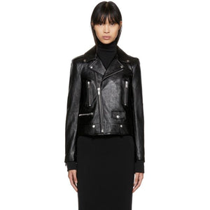 Saint Laurent Black Classic Leather Motorcycle Jacket-BlackSkinny